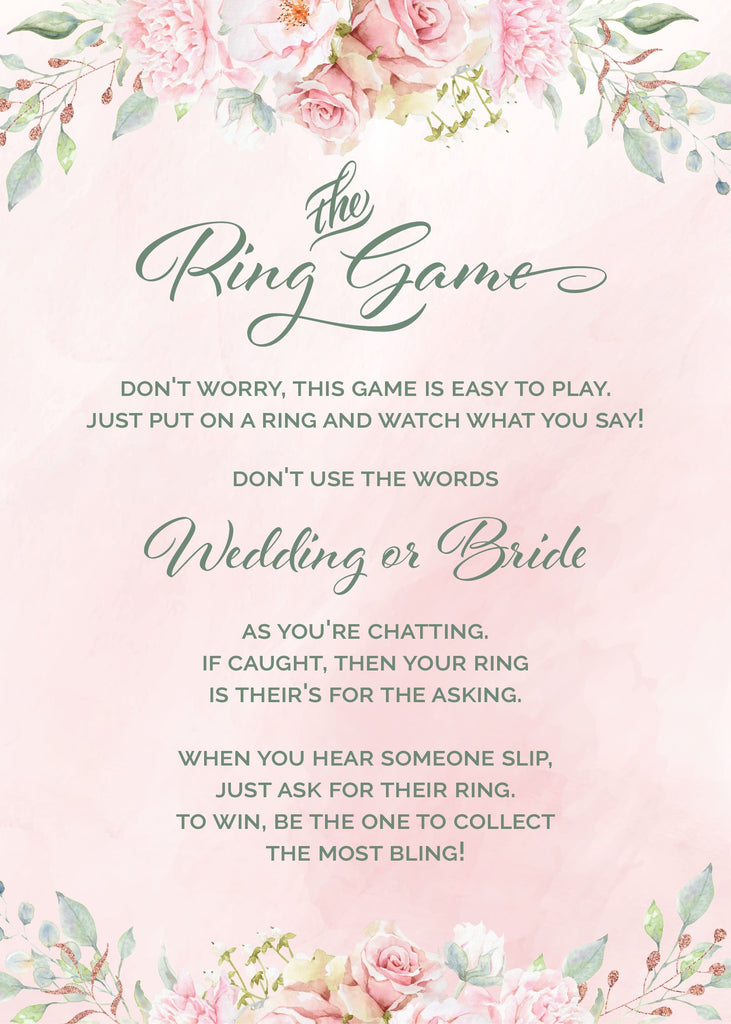 Pink Floral Bridal Shower Ring Game Sign