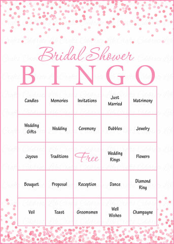 Bridal Bingo Cards - Printable Download - Prefilled - Bridal Shower Game for Wedding - Pink Confetti