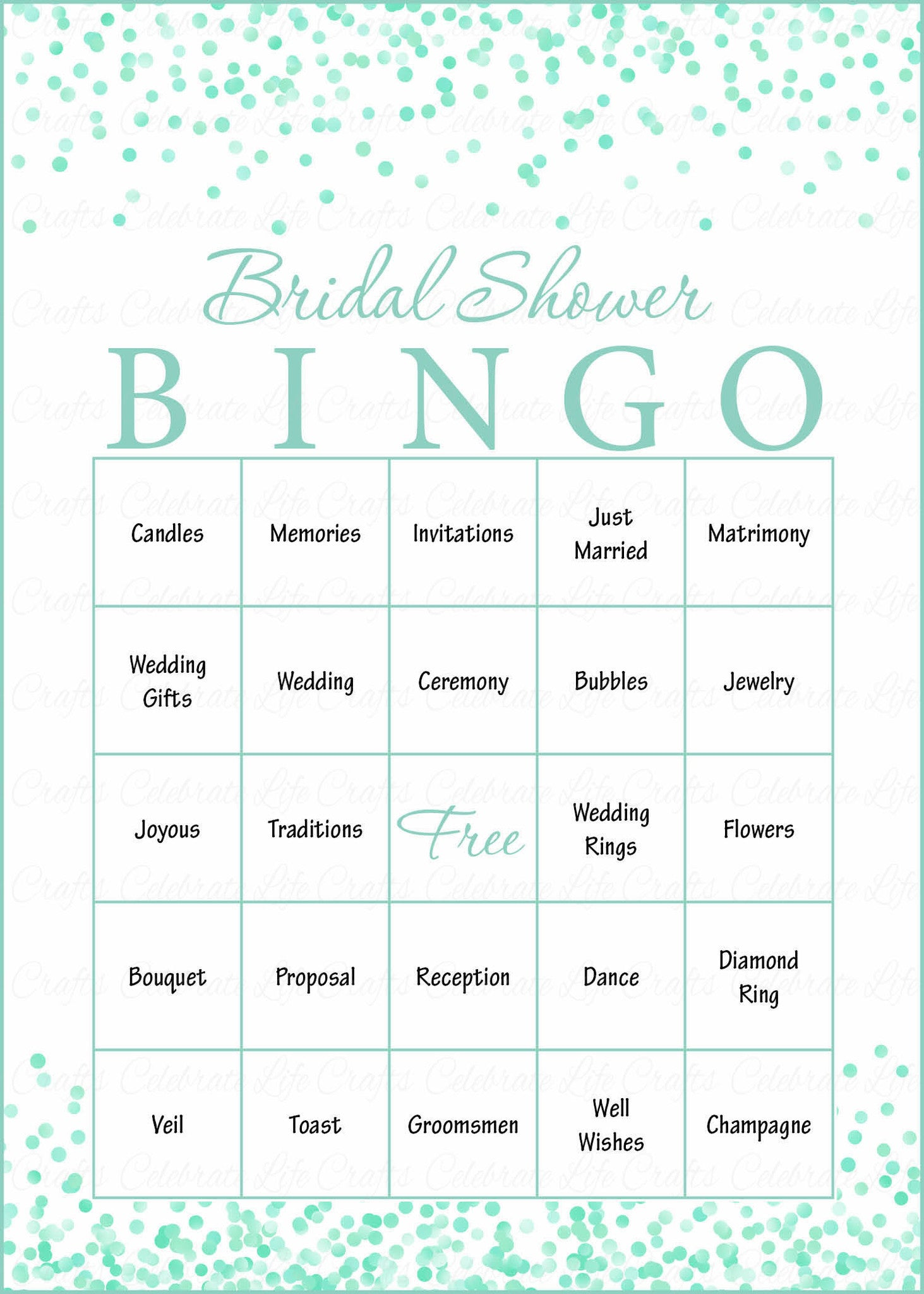 bridal bingo cards printable download prefilled bridal shower game for wedding mint confetti