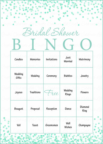 bridal bingo cards printable download prefilled bridal shower game for wedding mint