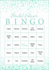 Bridal Bingo Cards - Printable Download - Prefilled - Bridal Shower Game for Wedding - Mint Confetti