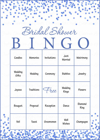 Bridal Bingo Cards - Printable Download - Prefilled - Bridal Shower Game for Wedding - Blue Confetti
