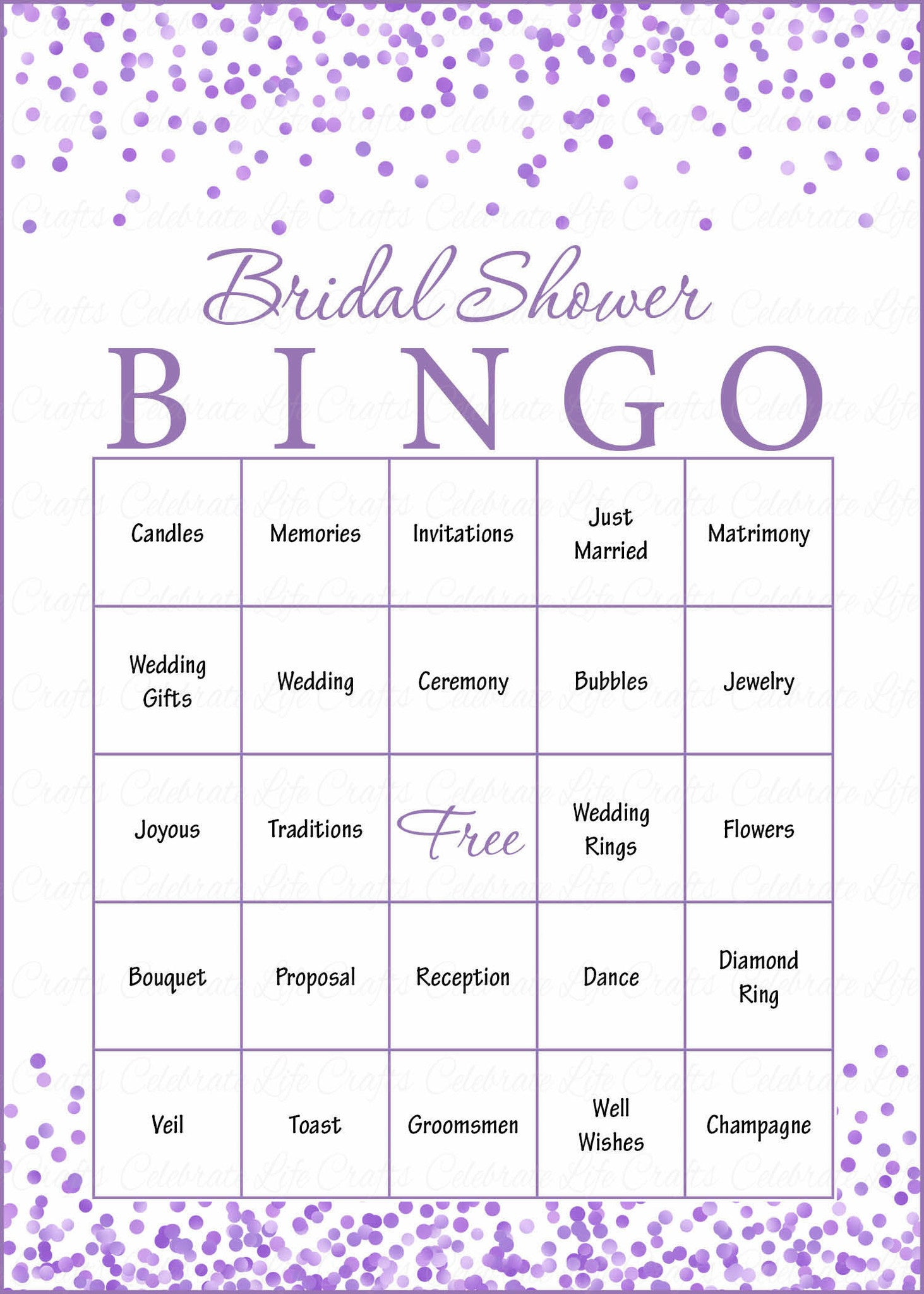 bridal bingo cards printable download prefilled bridal shower game for wedding purple confetti