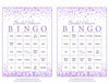 Bridal Bingo Cards - Printable Download - Prefilled - Bridal Shower Game for Wedding - Purple Confetti
