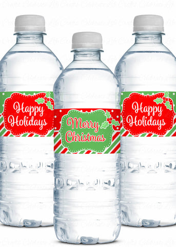 Christmas Water Bottle Labels - Printable Download - CH-WB001