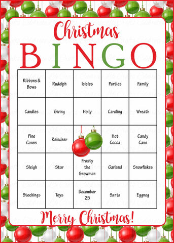 picture regarding Holiday Bingo Printable identified as Xmas Bingo Playing cards - Printable Obtain - Prefilled - Xmas Social gathering Video games - Eco-friendly and Pink Ornaments