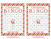 Christmas Bingo Cards - Printable Download - Prefilled - Christmas Party Games - Green and Red Stripes