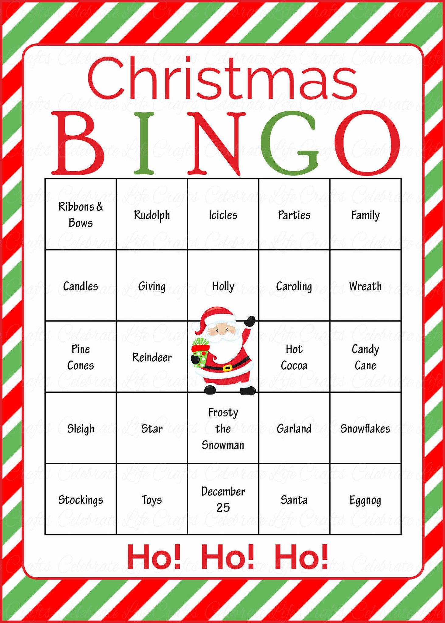 Christmas Party Game Ideas Part - 41: Christmas Bingo Cards - Printable Download - Prefilled - Christmas Party  Games - Green And Red Stripes.