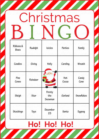 image relating to Printable Christmas Party Games called Xmas Bingo Playing cards - Printable Obtain - Prefilled - Xmas Get together Video games - Inexperienced and Crimson Stripes