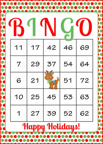 Christmas Bingo Cards - Printable Download - Prefilled - Christmas Party Games - Polka Dot Reindeer CH3002