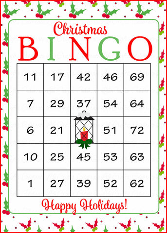 photo about Christmas Bingo Card Printable titled Xmas Bingo Playing cards - Printable Down load - Xmas Social gathering Video games - Holly Lantern CH3003