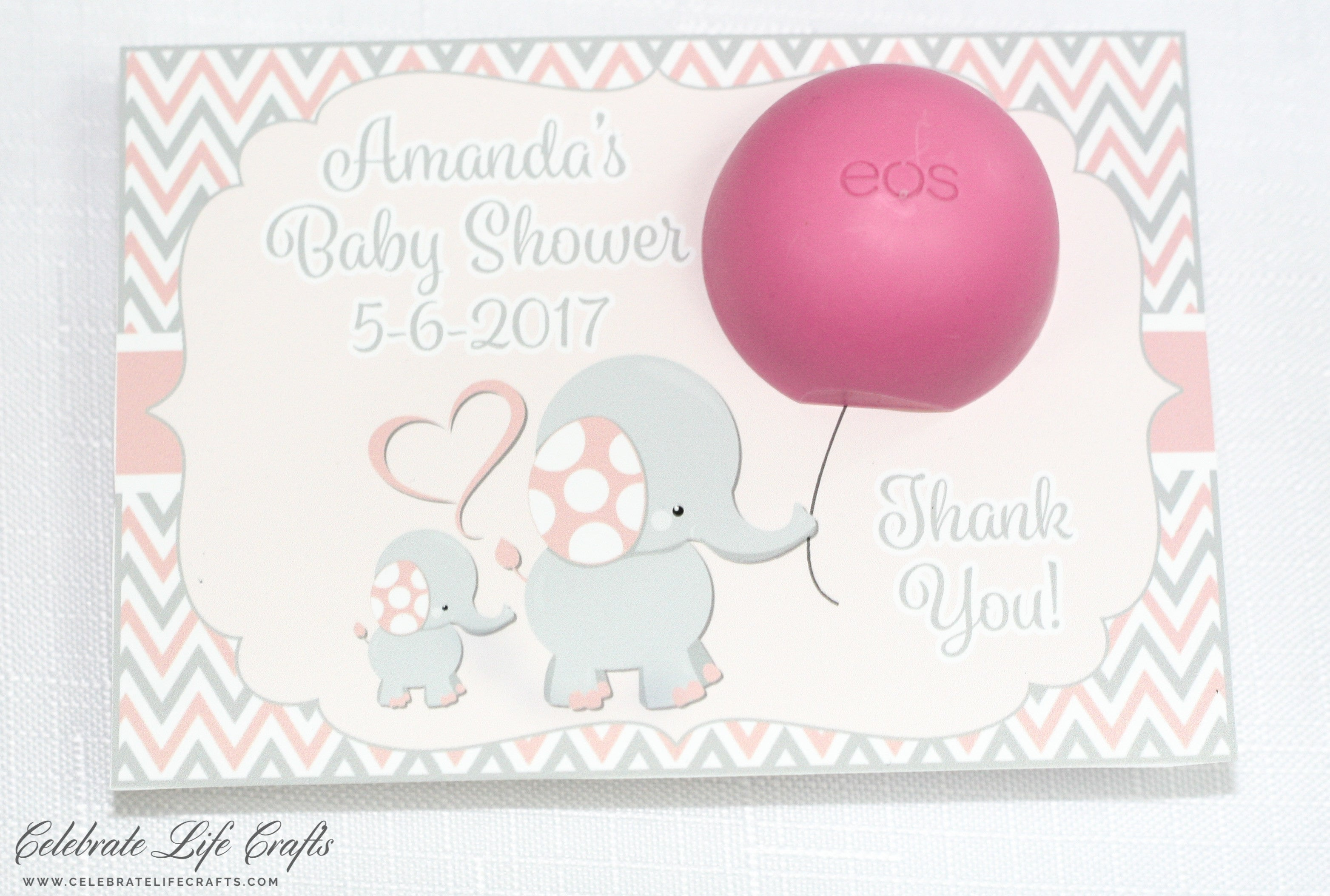 Personalized Baby Shower Favor Cards For Lip Balm U0026 Thank You Sign |  PRINTABLE | Elephant Baby Shower In Pink And Gray B3001.