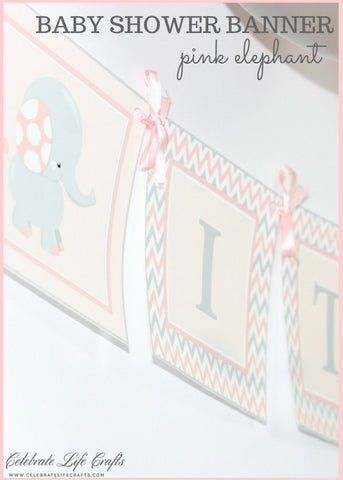 Baby Shower Banner | PRINTABLE | Elephant Baby Shower in Pink and Gray B3001