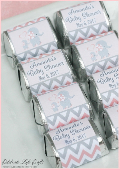 36dbd290dac7 Elephant Baby Shower Personalized Mini Candy Bar Wrappers ...