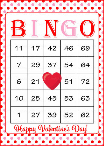 graphic about Printable Valentine Bingo Cards called Valentines Bingo Playing cards - Printable Obtain - Prefilled - Valentines Celebration Online games - Crimson Crimson Polka Dots - V1001