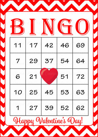 graphic relating to Printable Valentine Bingo Cards named Valentines Bingo Playing cards - Printable Obtain - Prefilled - Valentines Celebration Video games - Crimson Chevrons - V1002