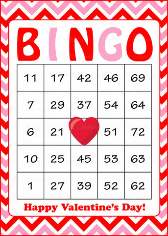 Valentine's Bingo Cards - Printable Download - Prefilled - Valentines Party Games - Red Pink Chevrons - V1003
