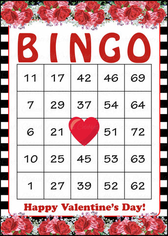 photograph regarding Printable Valentine Bingo Cards identified as Valentines Bingo Playing cards - Printable Obtain - Prefilled - Valentines Celebration Video games - Black Stripes Pink Roses - V1004