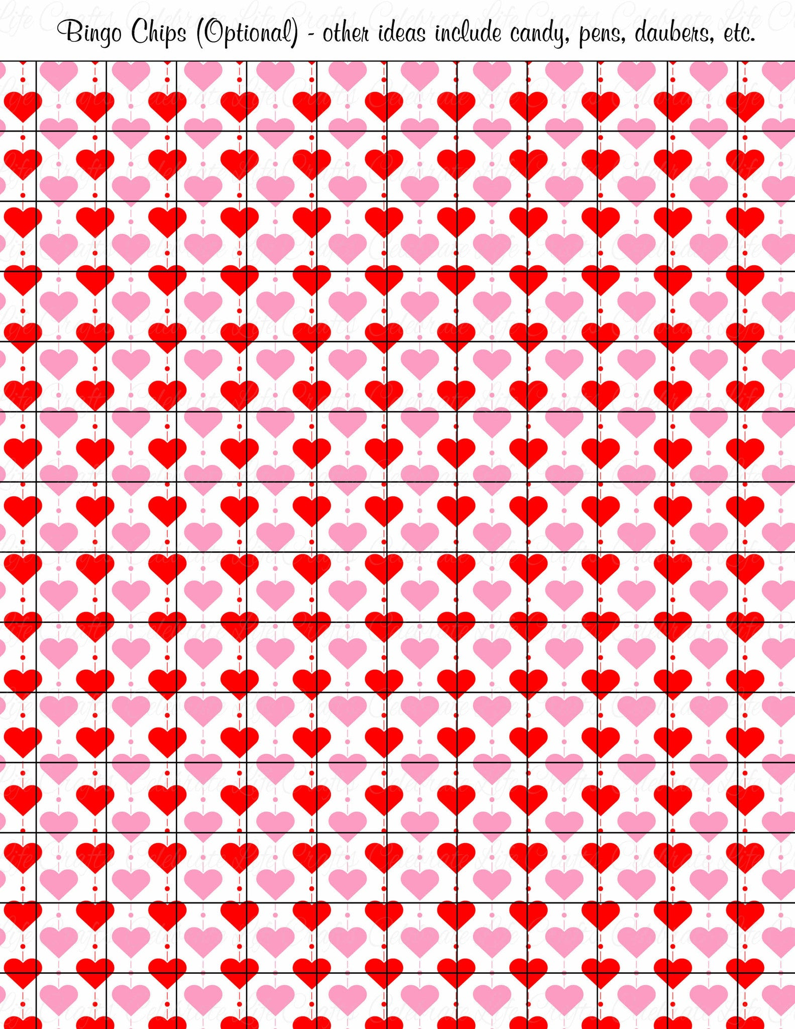 picture relating to Printable Bingo Chips titled Valentine Bingo Match Down load for Getaway Occasion Suggestions