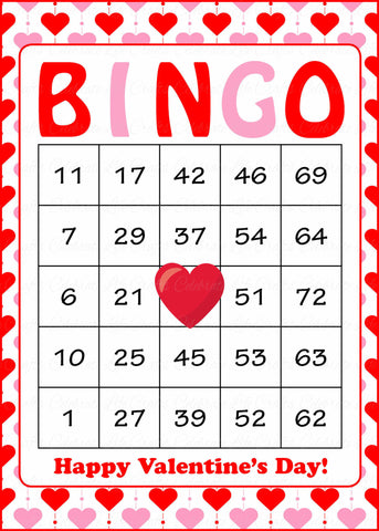 Valentine's Bingo Cards - Printable Download - Prefilled - Valentines Party Games - Red Pink Hearts - V1005