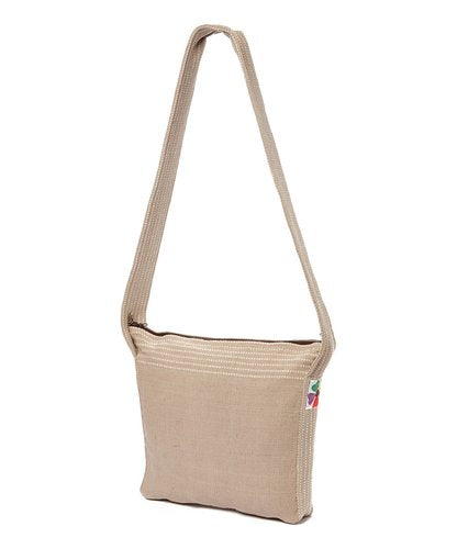 Tan Woven Cross Body Bag