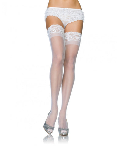 1022 Stay Up Spandex Sheer Thigh Highs with Silicone Top