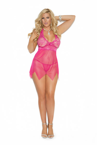 Lace and mesh babydoll. Matching g-string included. Style #4078