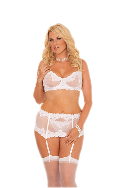 Embroidered mesh underwire bra and matching waist cincher. Style #5754