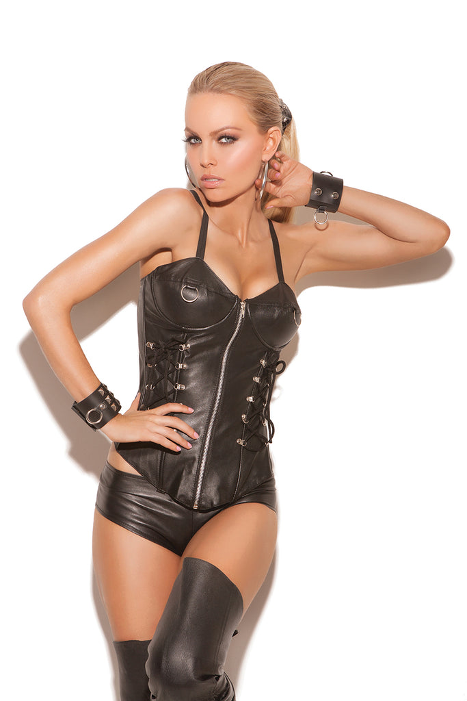 Leather zip front corset - L3133