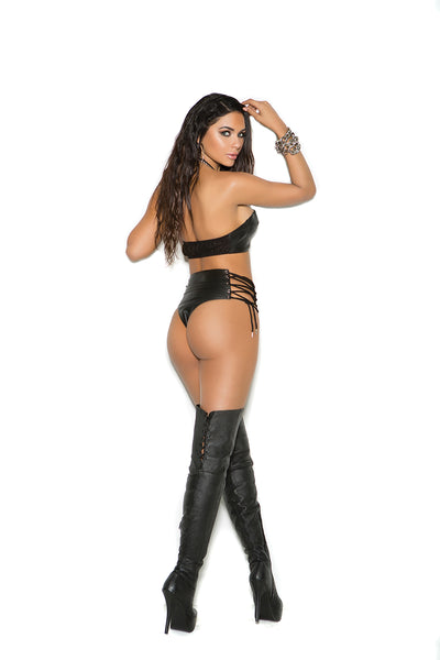 Leather booty shorts with lace up sides Style #L7137