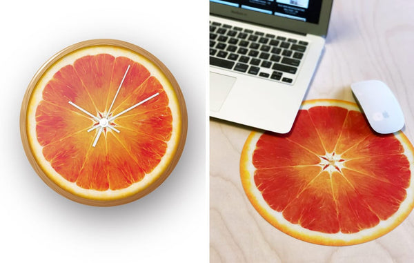 Introducing Mousepads! Juicy designs so fresh, we put them on clocks too.