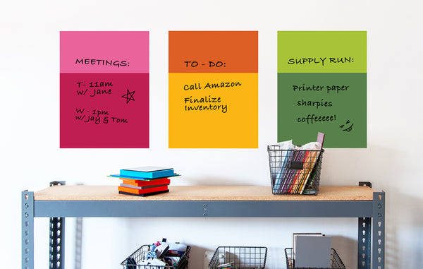 All the right hues: Color Block Dry Erase wall decals.