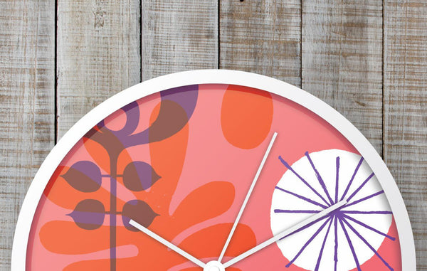 Colorful botanical and abstract clocks by Neasden Control Centre.