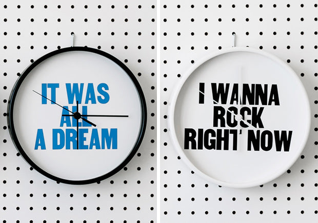 Today is a good day. New Paper Jam Press clocks and more wall graphics.