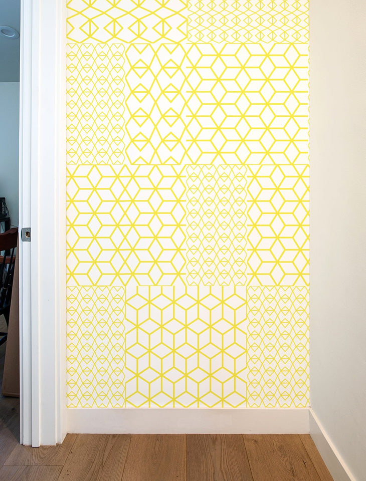 Fold Yellow Crystal Pattern Wall Tiles