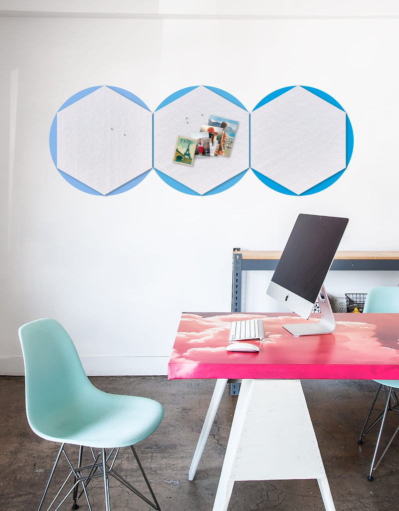 Hexagon Pinboard, Large in White