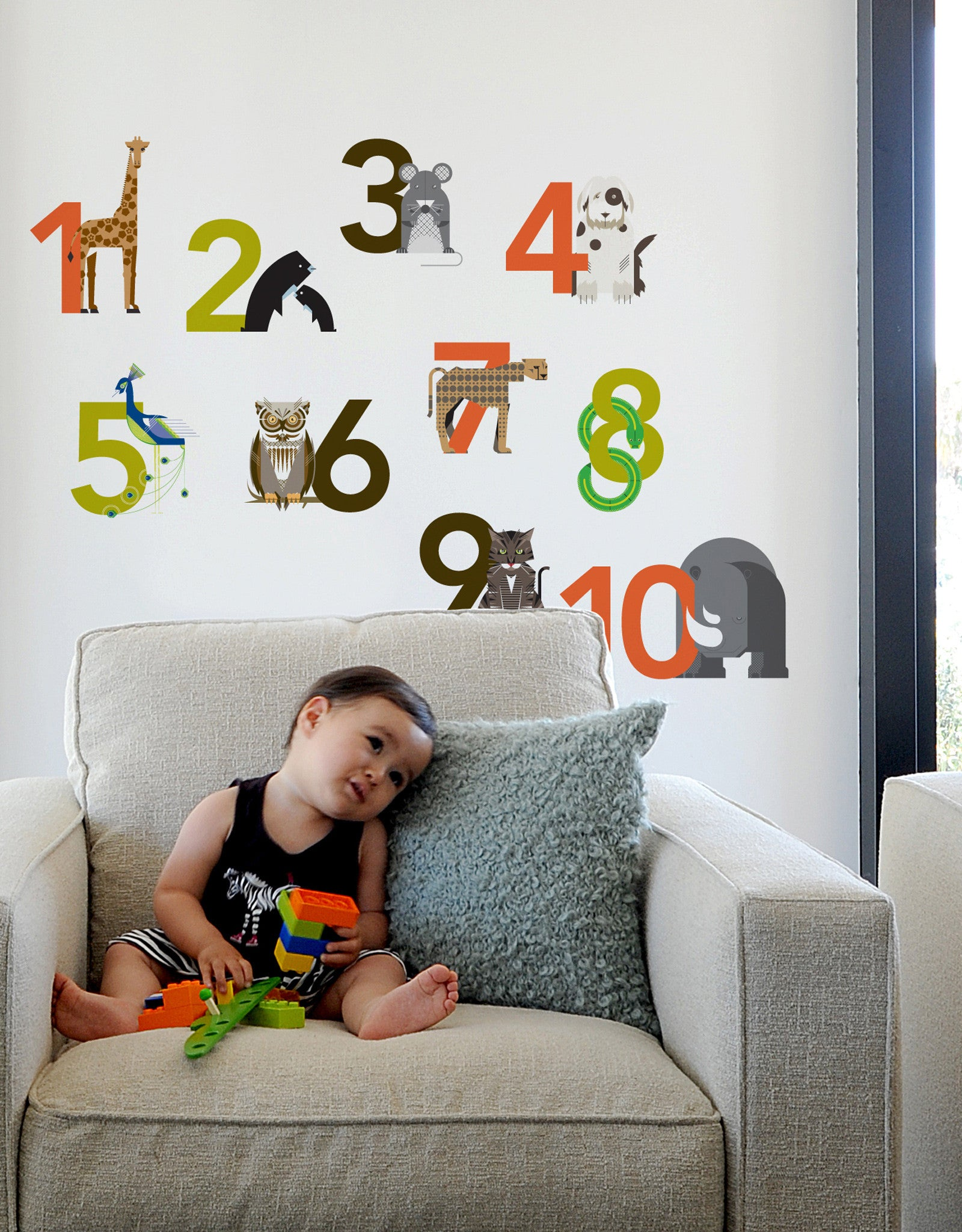 Animal Number Wall Stickers Large Number Wall Decals Blik