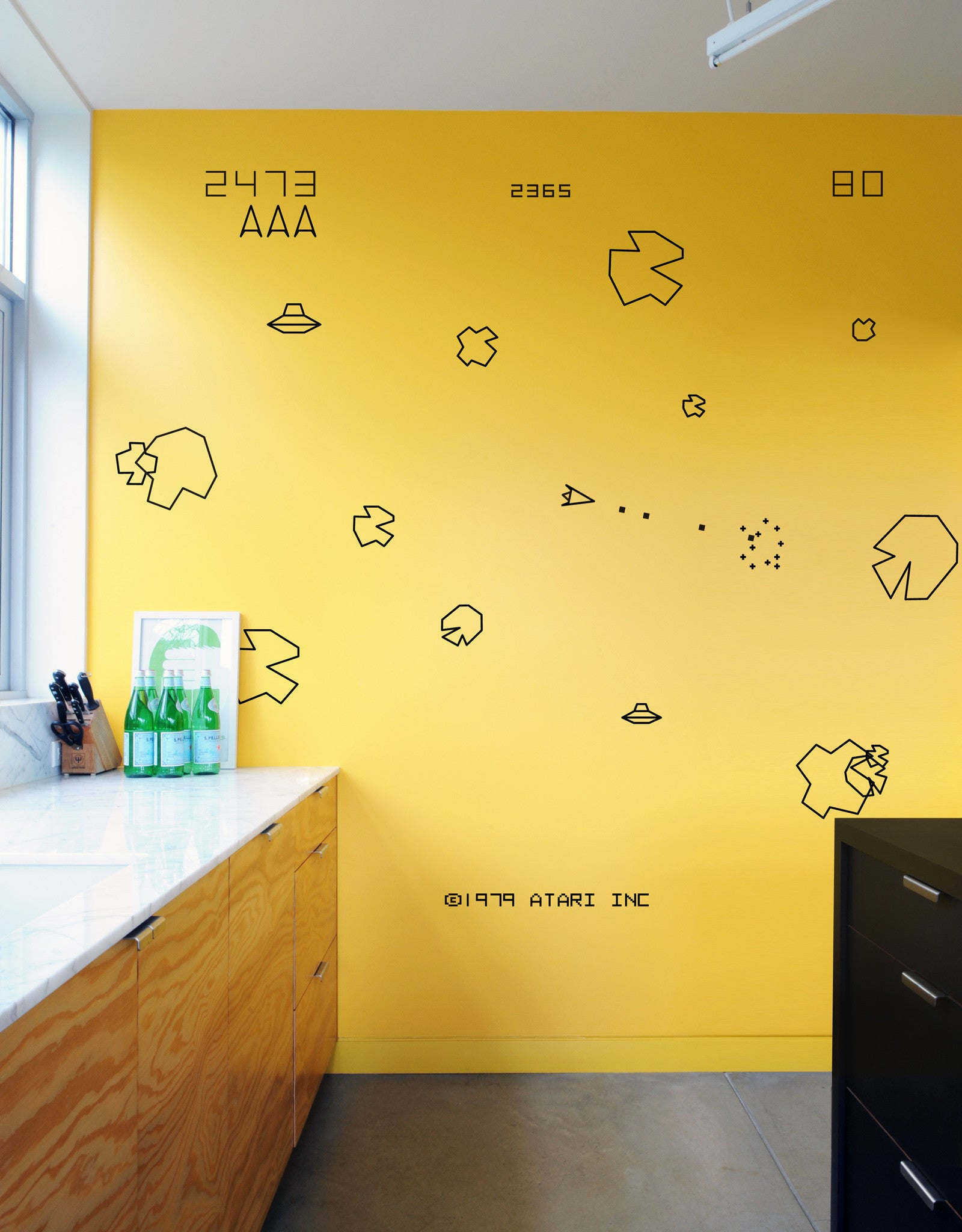Asteroids Video Game Wall Art | Video Game Wall Art Sticker – Blik