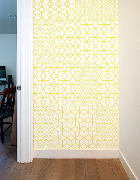Yellow Crystal Blik Wall Tiles Geometric Wall Decals