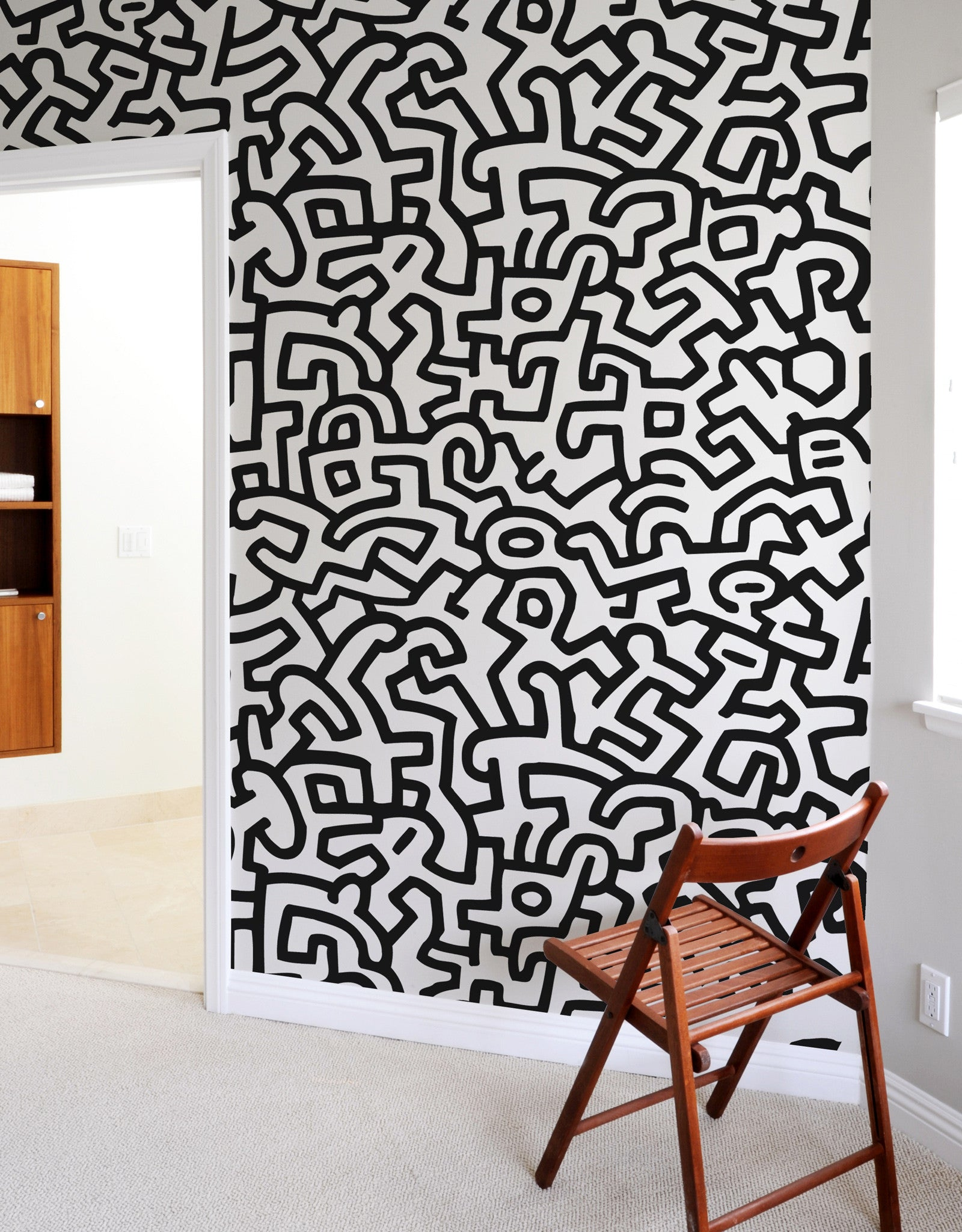 keith haring adhesive wall tiles stick on wall tiles blik. Black Bedroom Furniture Sets. Home Design Ideas