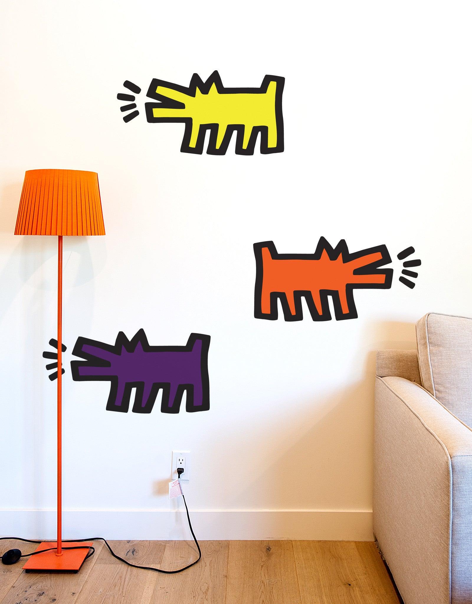 Barking dogs color wall decals blik for Plage stickers muraux