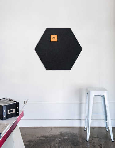 Hexagon Pinboard, Large in Black