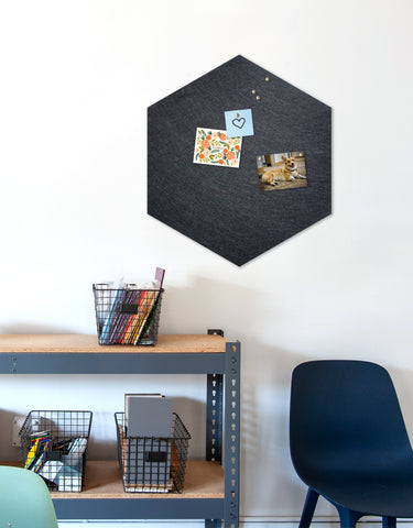 Hexagon Pinboard, Large in Charcoal