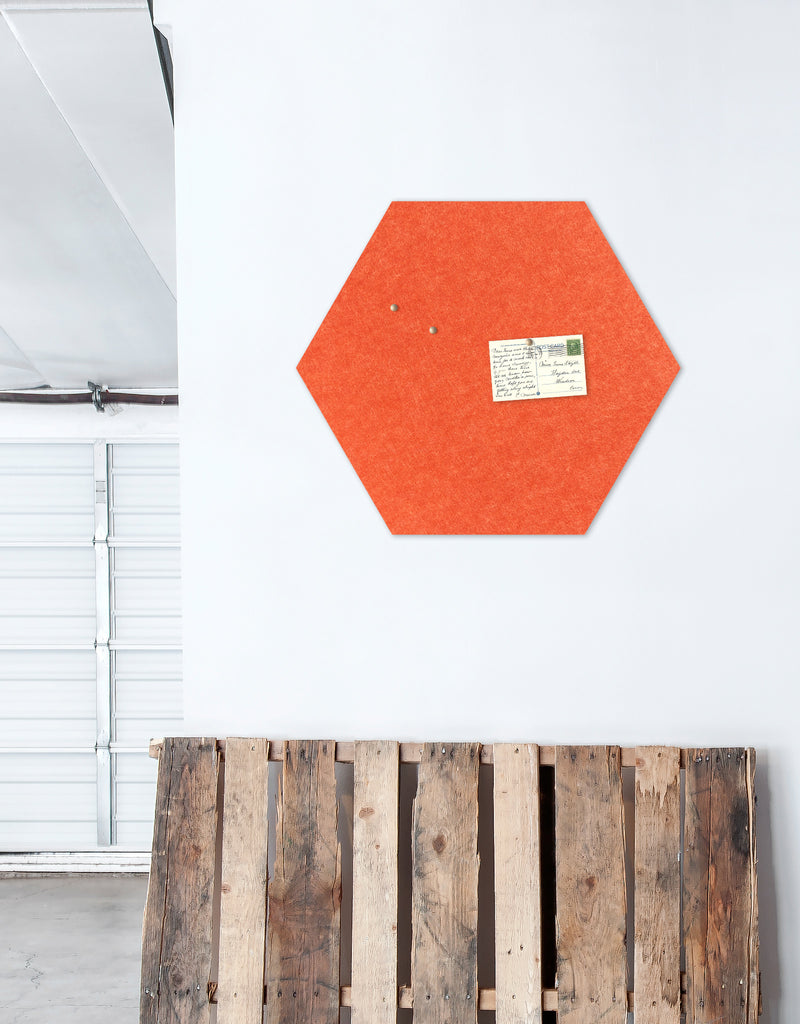 Hexagon Pinboard, Large in Tangerine