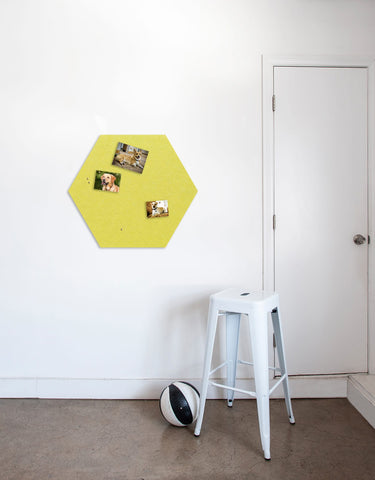 Hexagon Pinboard, Large in Yellow