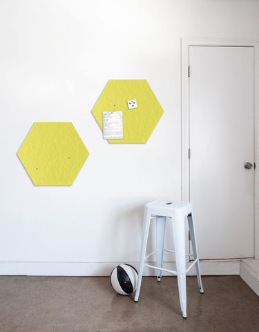 Hexagon Pinboard, Small in Yellow