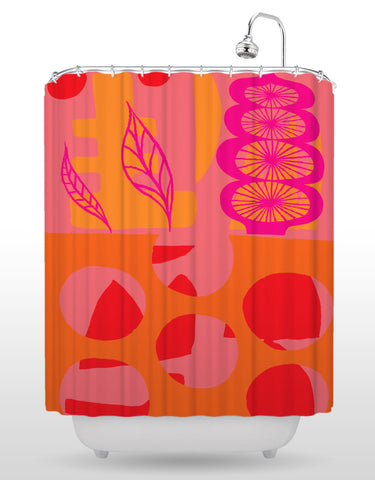 NCC Pink Leaf Shower Curtain