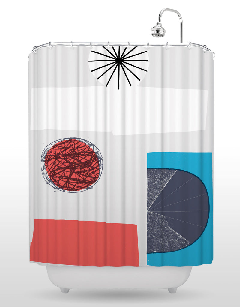 NCC Red Scribble Shower Curtain