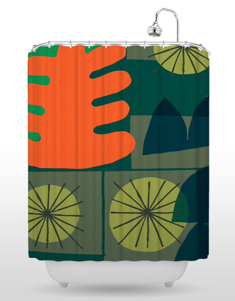 NCC Green Burst Shower Curtain
