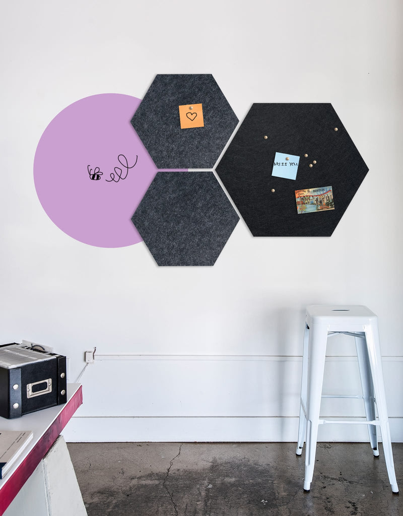 Hexagon Pinboard, Small in Charcoal